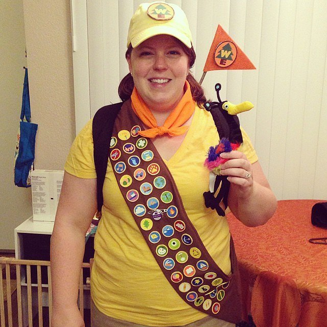 this is an adorable costume of russel from the movie up a fairly simple costume to make yourself as you can pull pieces from everyday outfits